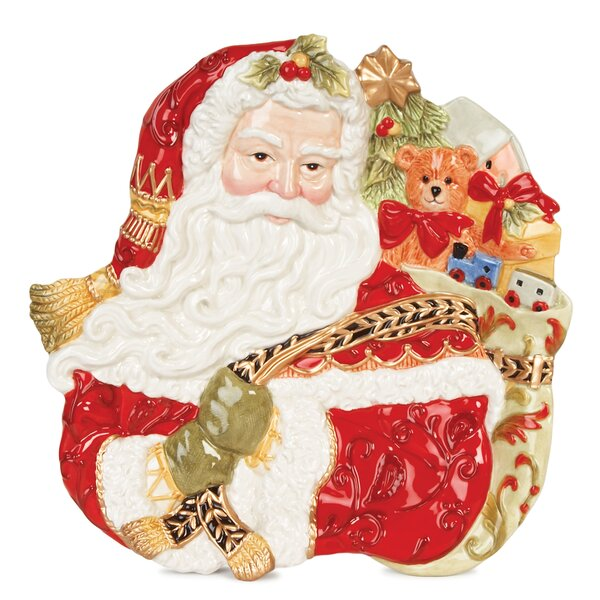 Damask Holiday Santa Face Canape Platter by Fitz and Floyd