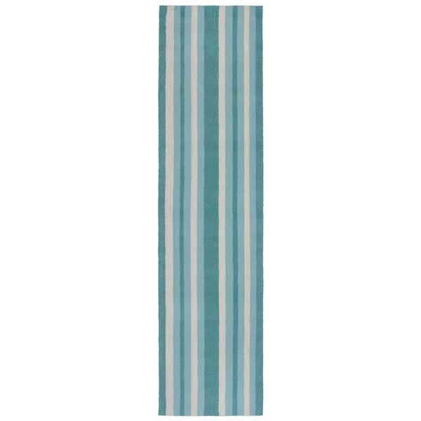 Cranford Stripe Hand-Tufted Blue/Beige Indoor/Outdoor Area Rug by Breakwater Bay