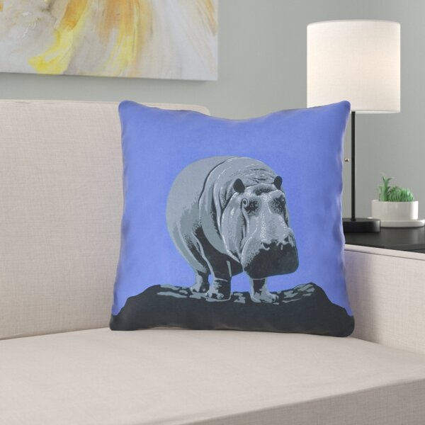 Hansard Vintage Hippo Zoo Poster Throw Pillow by Latitude Run