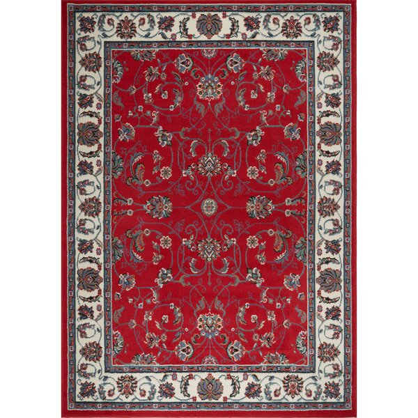 Lilly Traditional Border Red/Ivory Area Rug by Astoria Grand