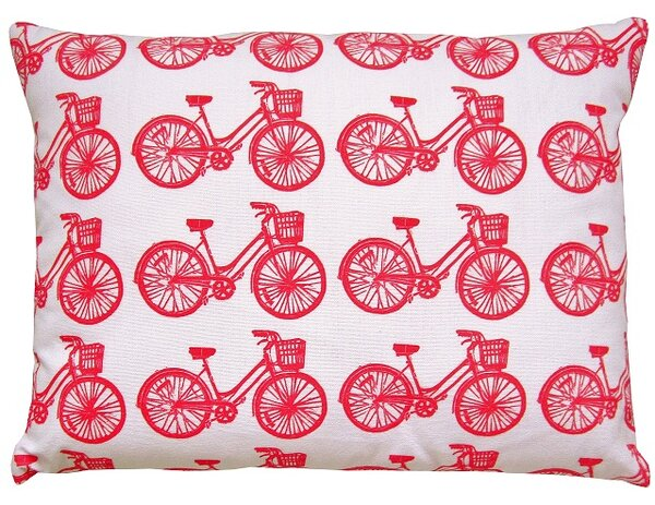 Bike All Over Pattern Block Print Accent Cotton Throw Pillow by Artgoodies