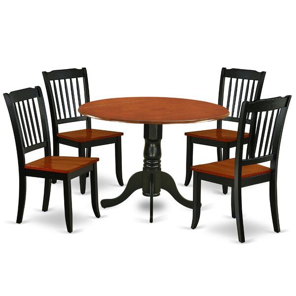 Laguardia 5 Piece Drop Leaf Solid Wood Dining Set by August Grove