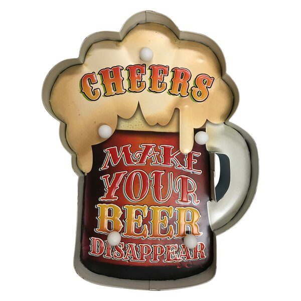 Cheers Make Your Beer Disappear Fun Sign Hanging Lamp by Red Barrel Studio