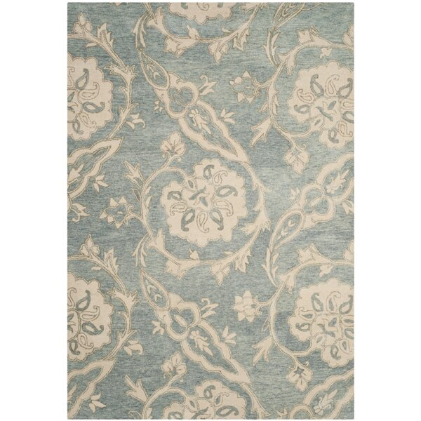 Franklinville Hand-Tufted Wool Light Blue Area Rug by Ophelia & Co.