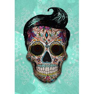 'Hipster Sugar Skull' Graphic Art Print on Canvas by Ebern Designs
