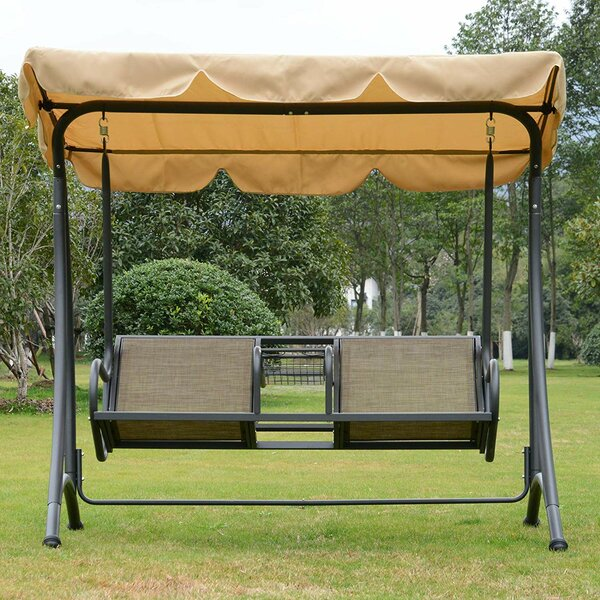 Soham 2 Person Outdoor Covered Porch Swing with Stand by Freeport Park