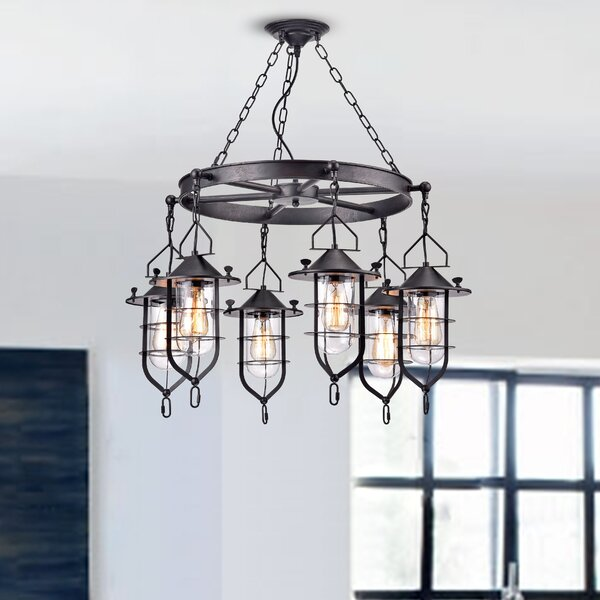 Crosby 6 - Light Shaded Wagon Wheel Chandelier by Millwood Pines Millwood Pines