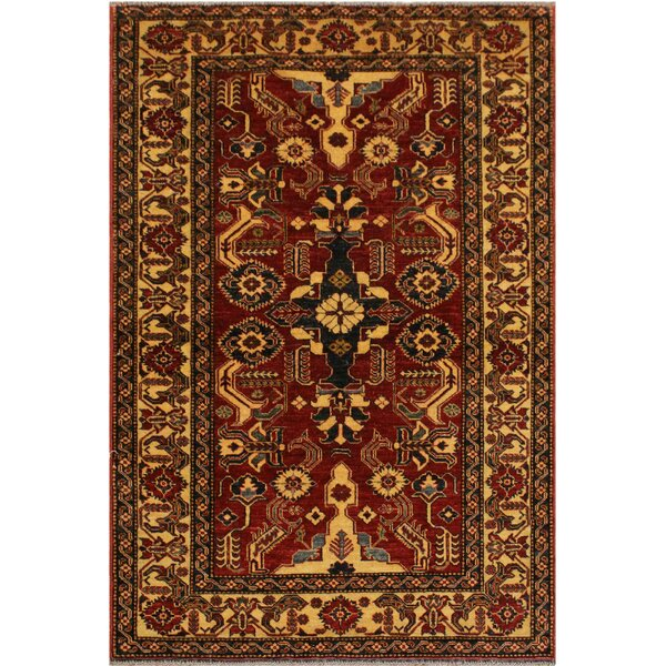 One-of-a-Kind Nancy Super Kazak Hand-Knotted Wool Red/Light Tan Area Rug by Astoria Grand