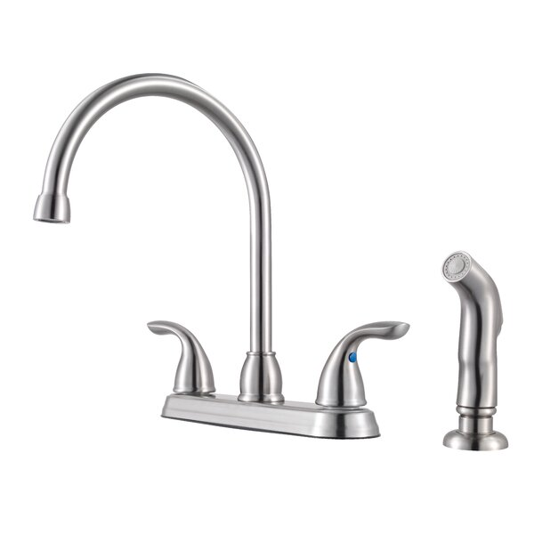 Double Handle Kitchen Faucet with Side Spray by Pfister
