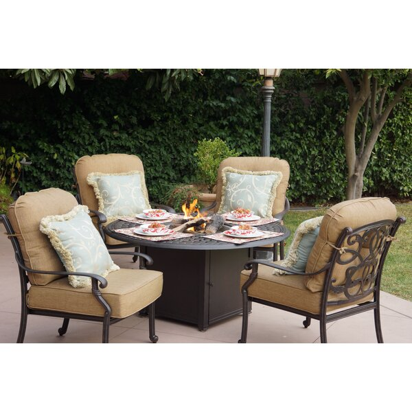 Calhoun 5 Piece Conversation Set with Cushions by Fleur De Lis Living