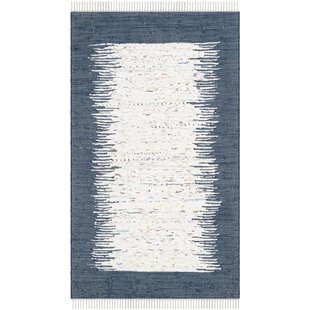 Evie Handwoven Cotton White/Navy Area Rug by Beachcrest Home
