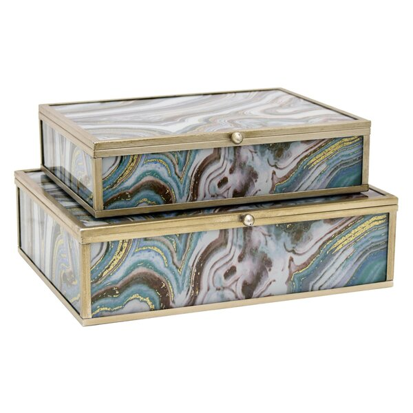 Glass 2 Piece Decorative Box Set by Everly Quinn