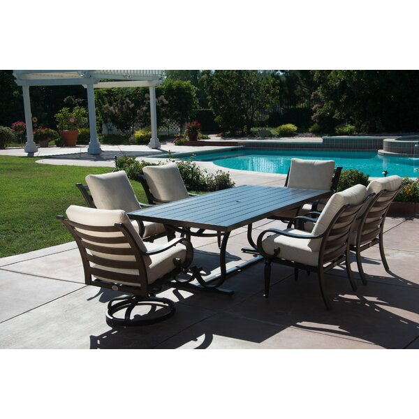 Columbia 7 Piece Dining Set with Sunbrella Cushions by Fleur De Lis Living