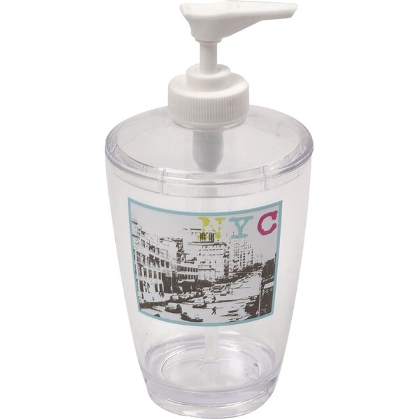 Urban NYC Clear Acrylic Printed Bathroom Soap Dispenser by Evideco