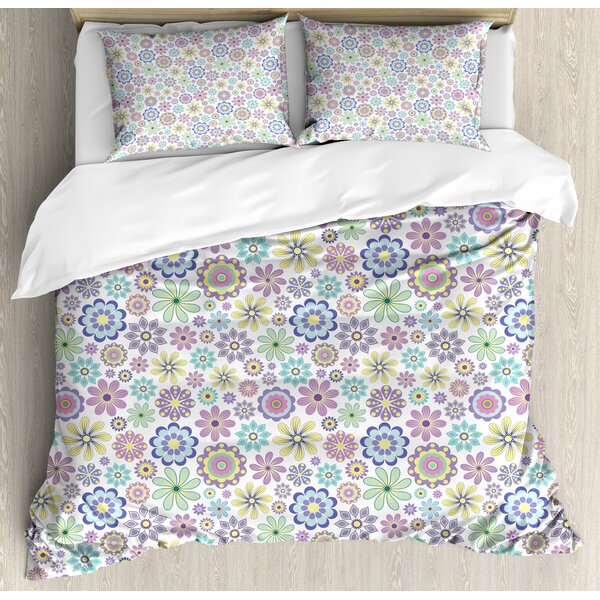 Cute Ornate Different Kinds of Flowers Flourish Vintage Field Meadow Yard Duvet Set by East Urban Home