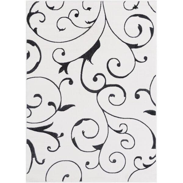 Bridgnorth Paisley Charcoal/White Area Rug by Fleur De Lis Living