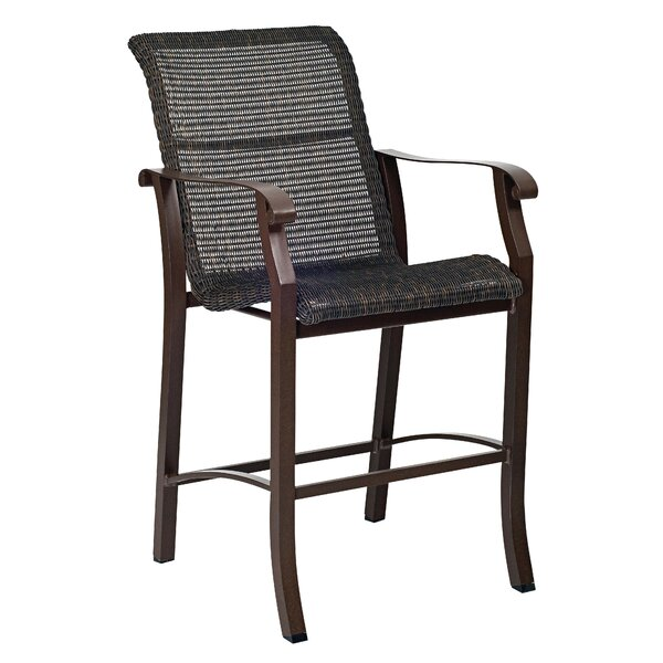 Cortland Woven Stationary 29 Patio Bar Stool by Woodard