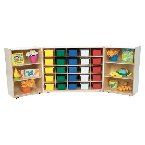 Tri-Fold Storage 25 Compartment Cubby with Trays by Wood Designs