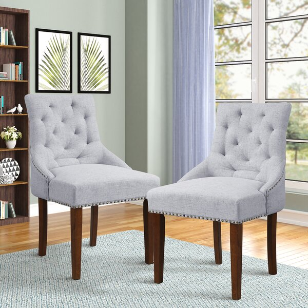 Dematteo Tufted Linen Upholstered Wingback Side Chair (Set Of 6) By One Allium Way