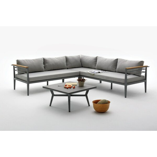 Elwood Outdoor 2 Piece Sectional Set with Cushions by Orren Ellis