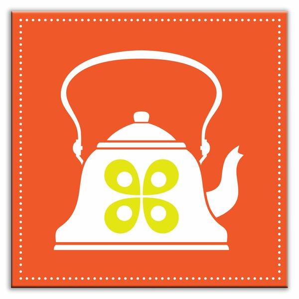 Kitschy Kitchen 4-1/4 x 4-1/4 Glossy Decorative Tile in Whistler Orange by Oscar & Izzy