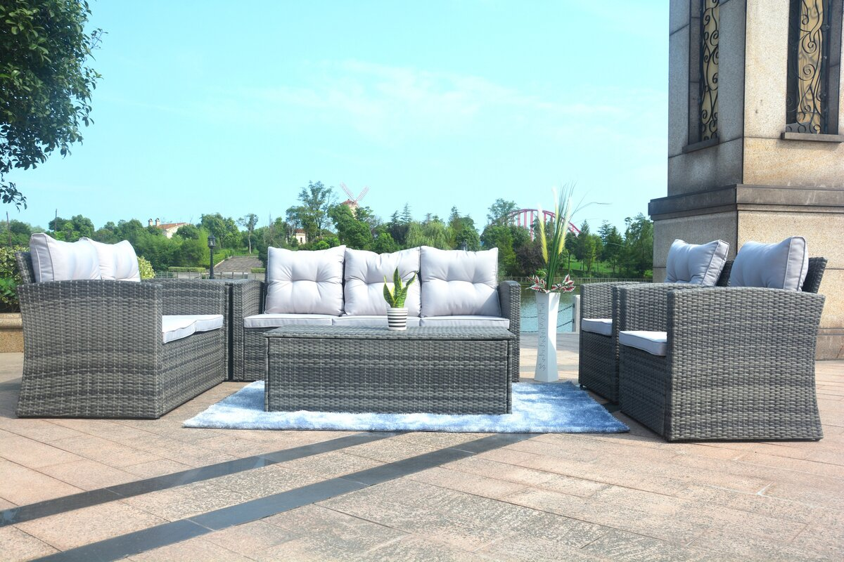 Brayden Studio Medford 6 Piece Sectional Set with Cushions & Reviews ...