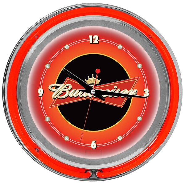 Budweiser 14 Double Ring Wall Clock by Trademark Global