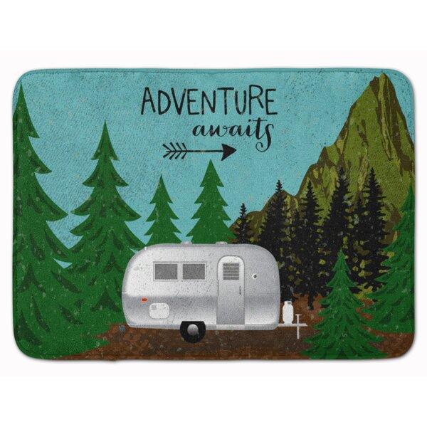 Ebaugh Airstream Camper Adventure Awaits Rectangle Microfiber Non-Slip Bath Rug