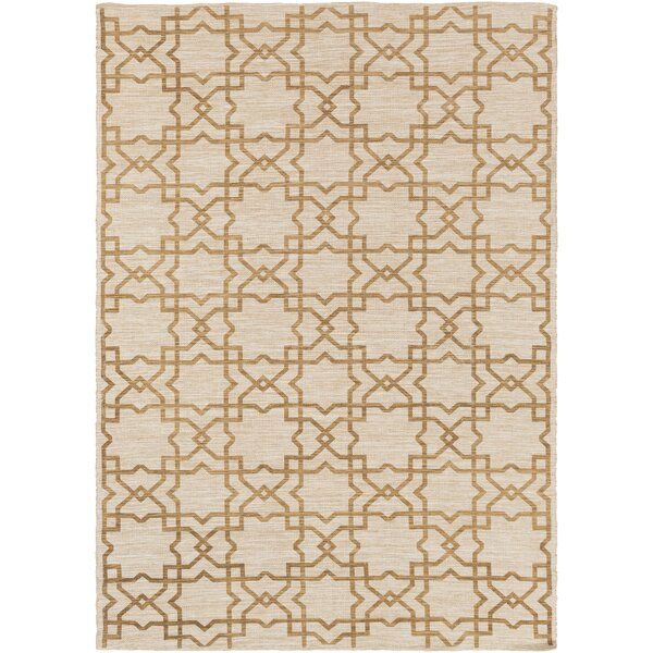 Hand-Woven Gold/Light Gray Area Rug by Wrought Studio