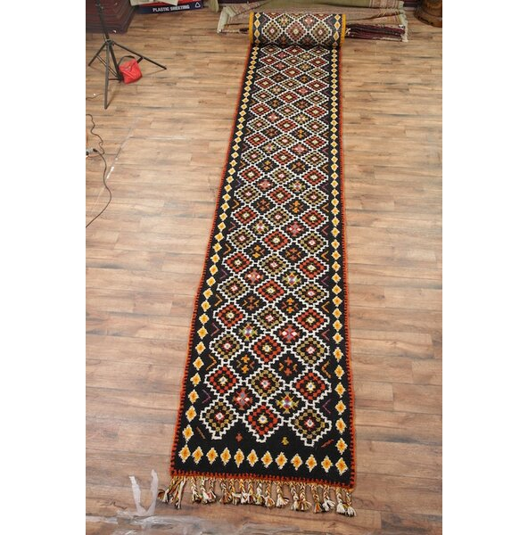One-of-a-Kind Lam Oriental Hand-Knotted Wool Black/Red Area Rug by Union Rustic