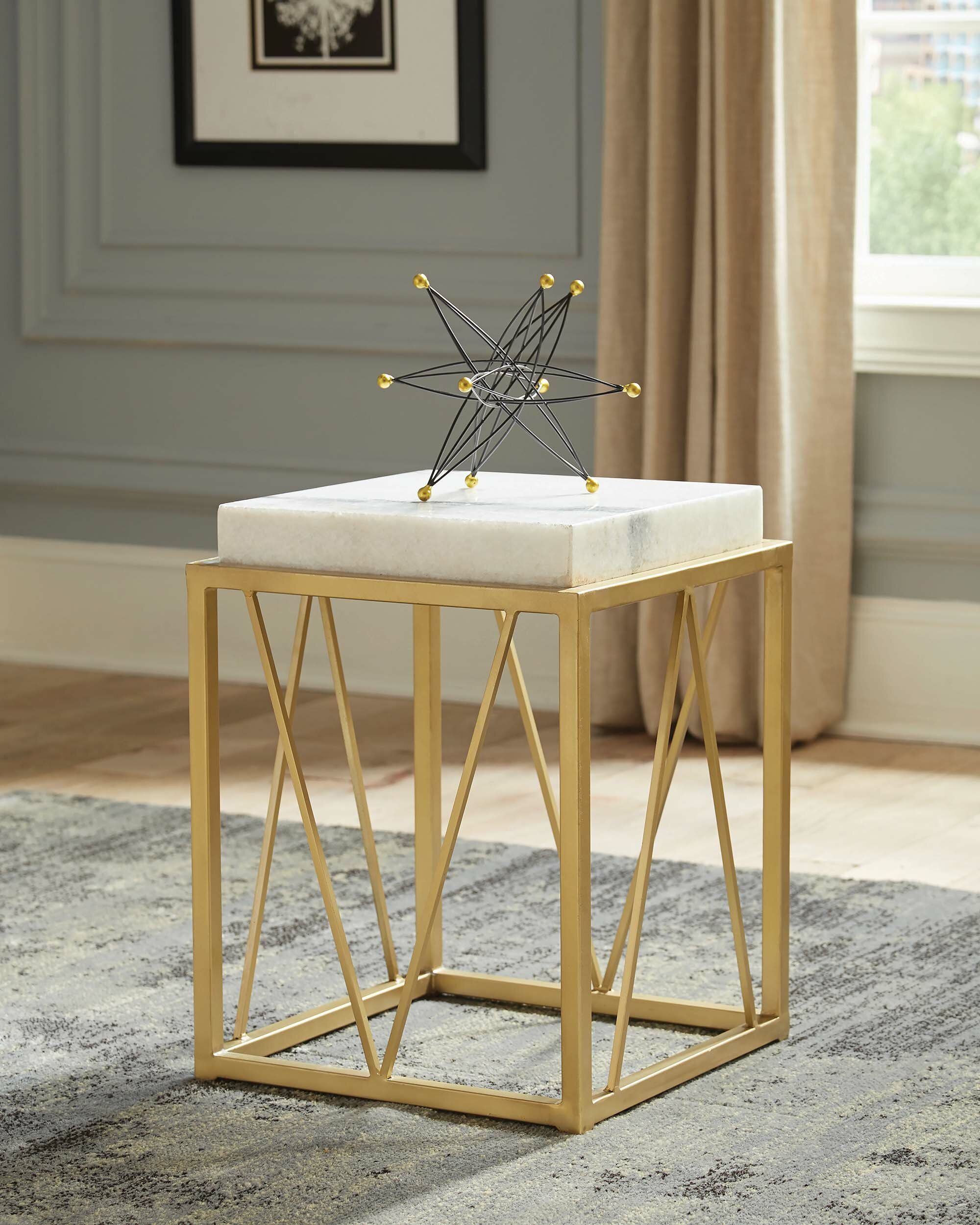 - Mercer41 Thorp Square Accent Table White And Gold Wayfair