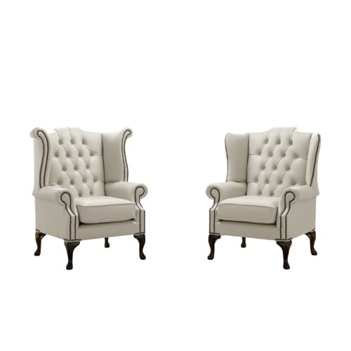 Belfield 2 Piece Wingback Chair Set Astoria Grand Upholstery Colour: Cottonseed