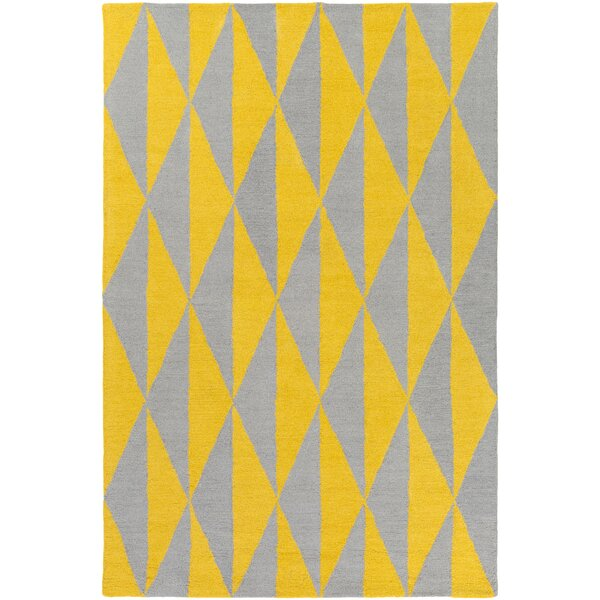 Yowell Hand-Crafted Yellow/Gray Area Rug by George Oliver