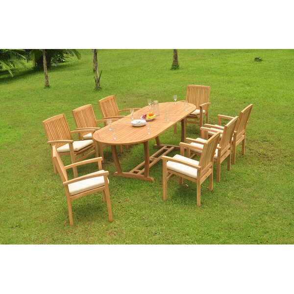 Pomona 9 Piece Teak Dining Set by Rosecliff Heights