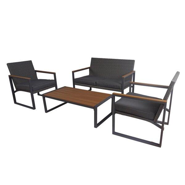 Shipe Outdoor 4 Piece Rattan Sofa Seating Group