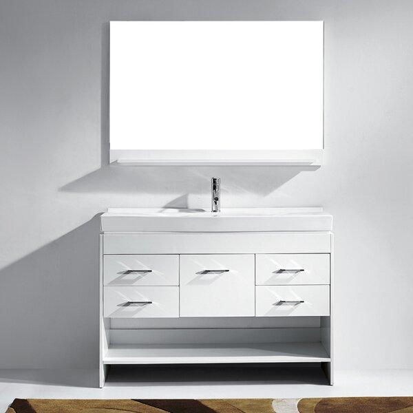 @ Carstens 47 Single Bathroom Vanity Set with Ceramic Top and Mirror by Mercury Row| #$0.00!