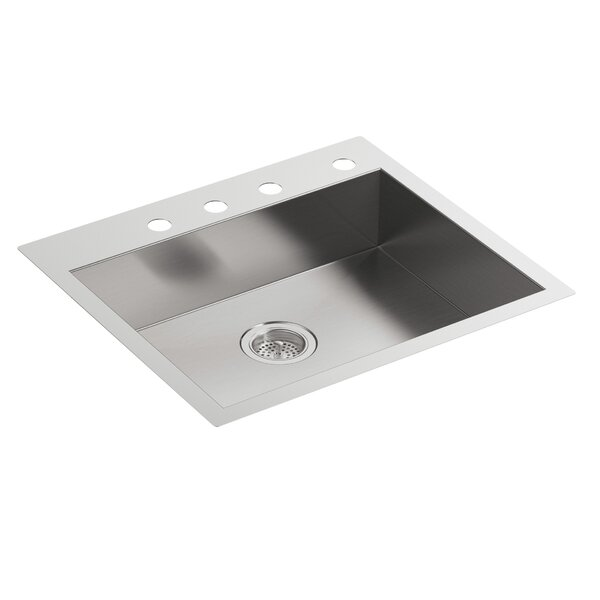 Vault 25 L x 22 W x 6-5/16 Single Bowl Dual-Mount Kitchen Sink with 4 Faucet Holes by Kohler