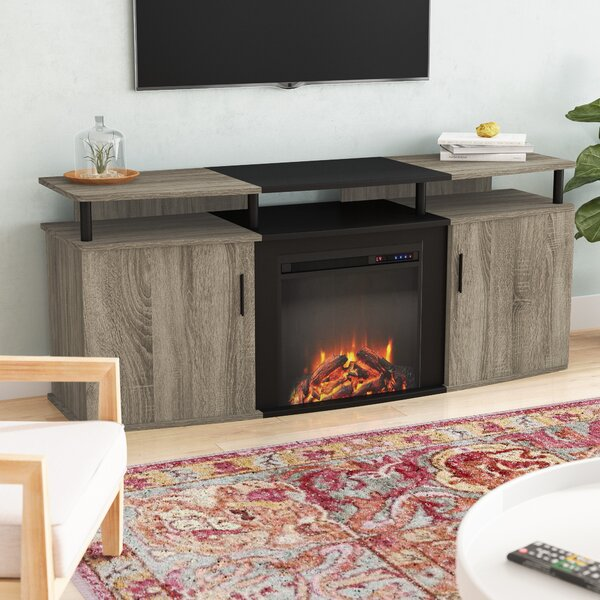 Affordable Price Elian TV Stand for TVs up to 70 with Fireplace Included by Wade Logan