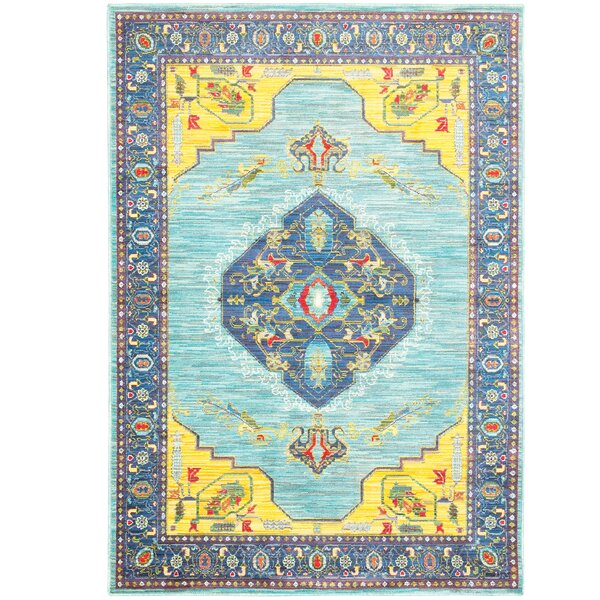 Saige Blue/Yellow Area Rug by Bloomsbury Market
