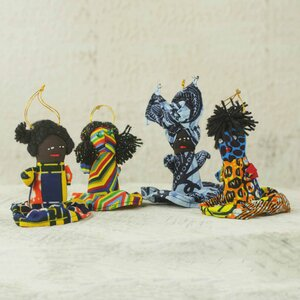 4 Piece Hand-crafted Patchwork African Doll Ornament Set