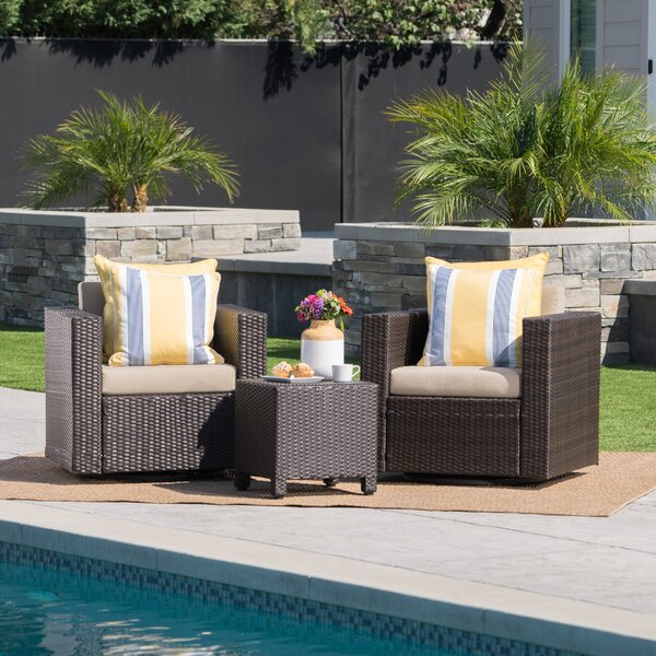 Furst 3 Piece Rattan Seating Group with Cushions by Wade Logan