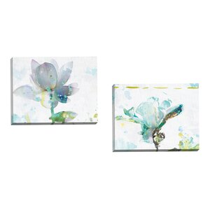 'Lotus Horizontal' 2 Piece Painting Print on Wrapped Canvas Set by Andover Mills