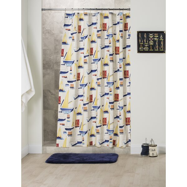 Sally Cotton Shower Curtain by Breakwater Bay