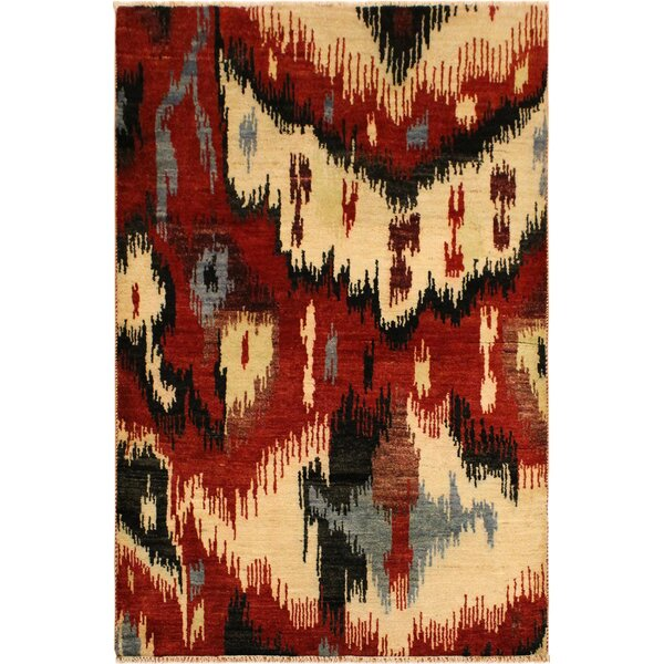 One-of-a-Kind Abel Hand Knotted Wool Red/Ivory Area Rug by Isabelline
