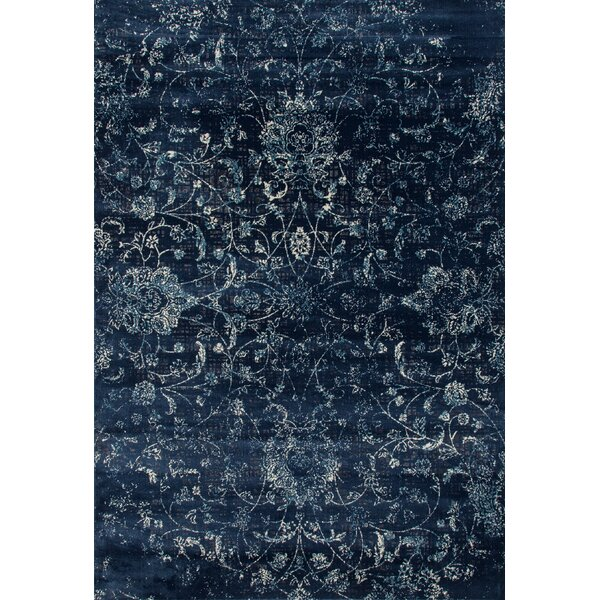 Devay Floral Steel Blue Area Rug by Lark Manor