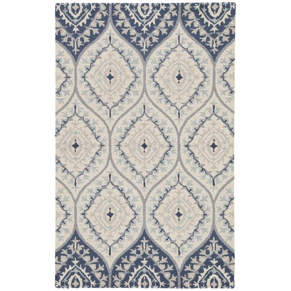 Pariaman Hand-Tufted Wool Turtledove/Majolica Blue Area Rug by Bungalow Rose