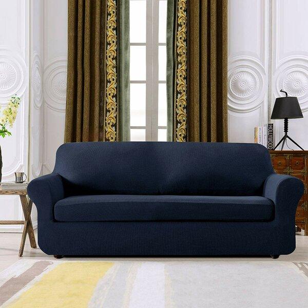 Plaid Stretch Box Cushion Loveseat Slipcover by Winston Porter