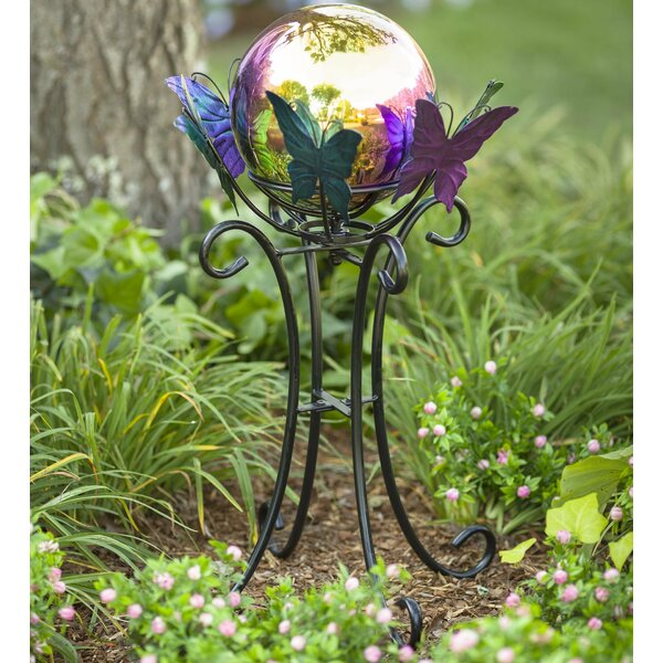 Spinning Butterfly Gazing Globe Stand by Plow & Hearth