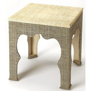 Read Reviews Elinore Houndstooth Raffia End Table By Bungalow Rose