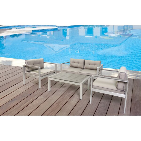Septimus Outdoor 4 Piece Sofa Seating Group with Cushions by Latitude Run